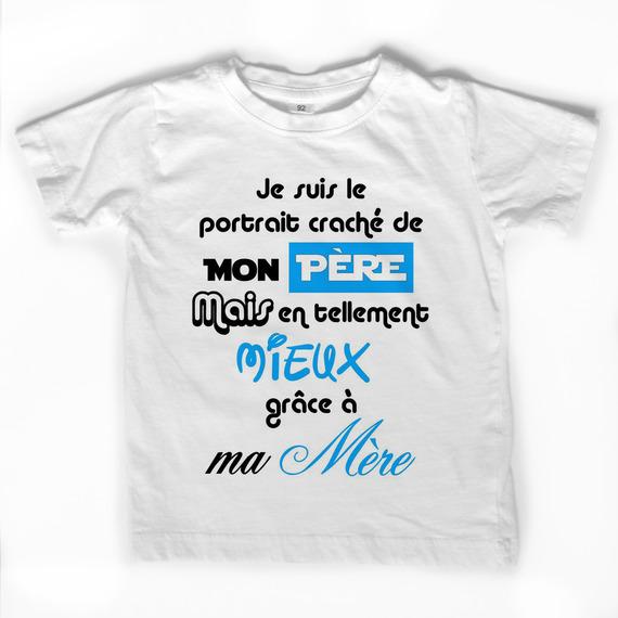 """T-shirt blanc """"Portrait craché de mon père"""""""