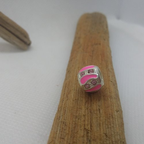 Perle européenne ronde rose avec strass