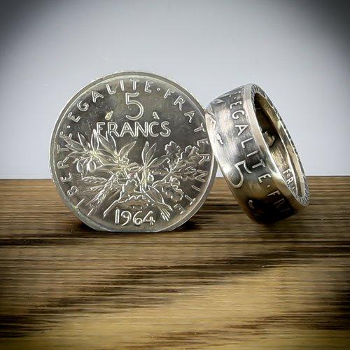 bague argent piece monnaie