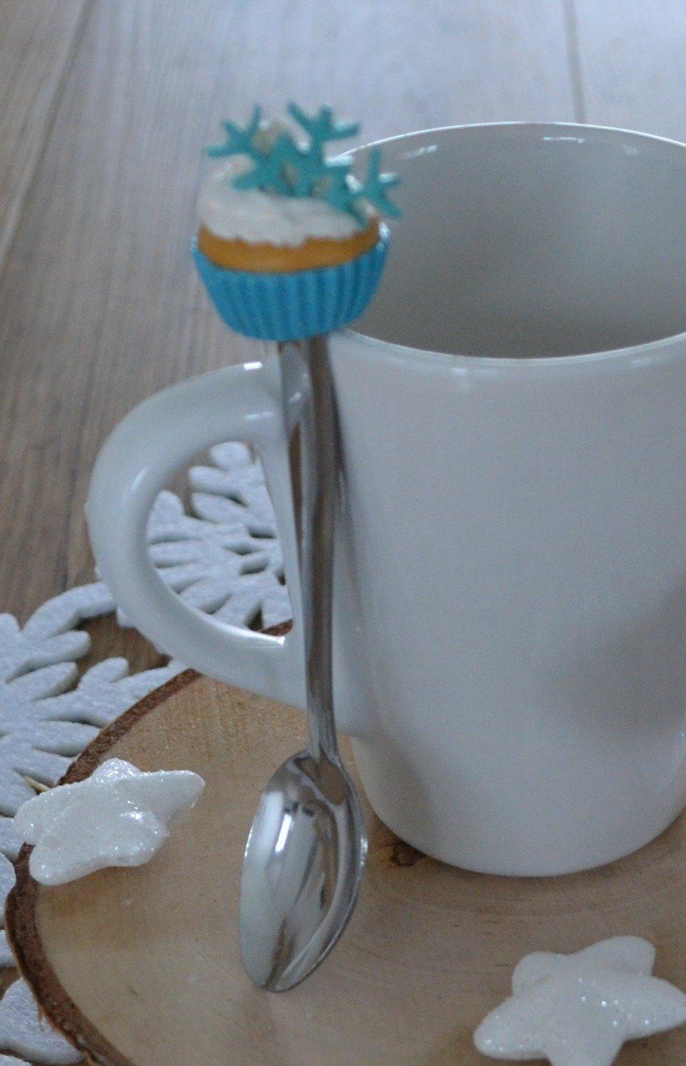 Cuillère Cupcake en Fimo Reine des Neiges