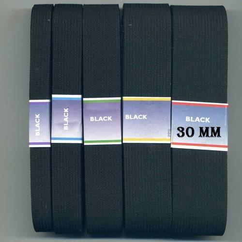 30 mm  noir au metre , ruban elastique plat de 3 cm , elastique large 3cm / 30mm