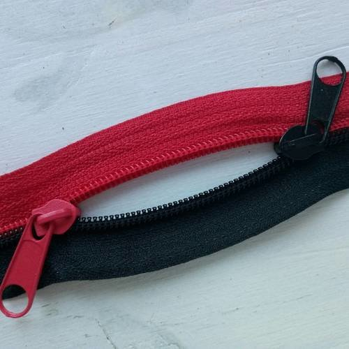 N6 bicolor 1m 2cur noir rouge serie a , grande fermeture eclair à glissiere longue de 1 metre