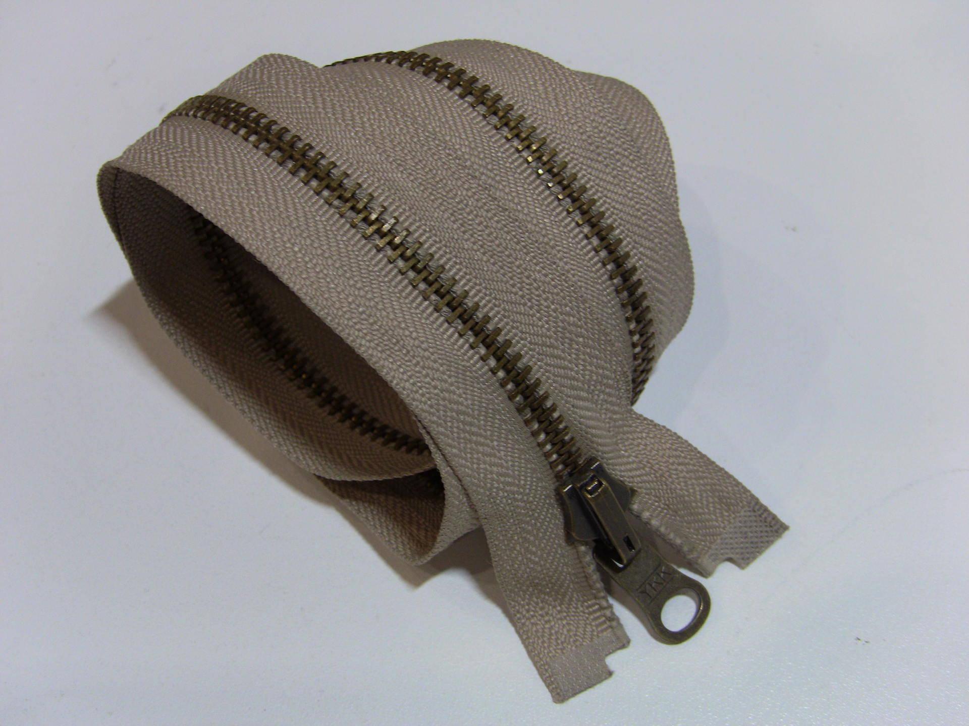 M5 BEIGE BRONZE, fermeture eclair separable reversible à glissiere métal 50cm / 55cm / 60cm / 65cm / 70cm / 75cm / 80cm