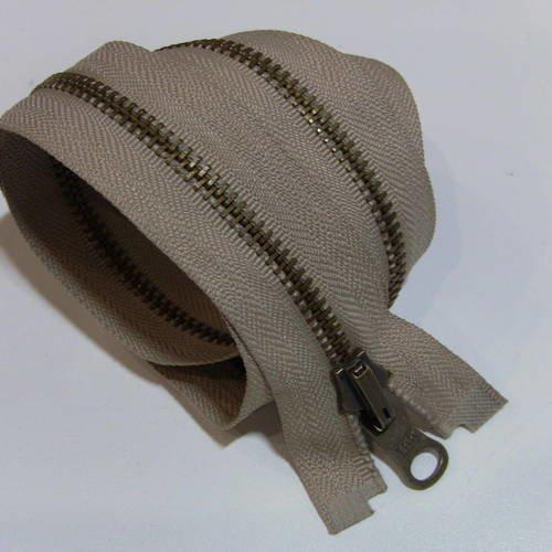 Fermeture eclair beige reversible ,  glissiere métal séparable 50 , 55 , 60 , 65 , 70 , 75 , 80 , 85 , 90 , 95 cm