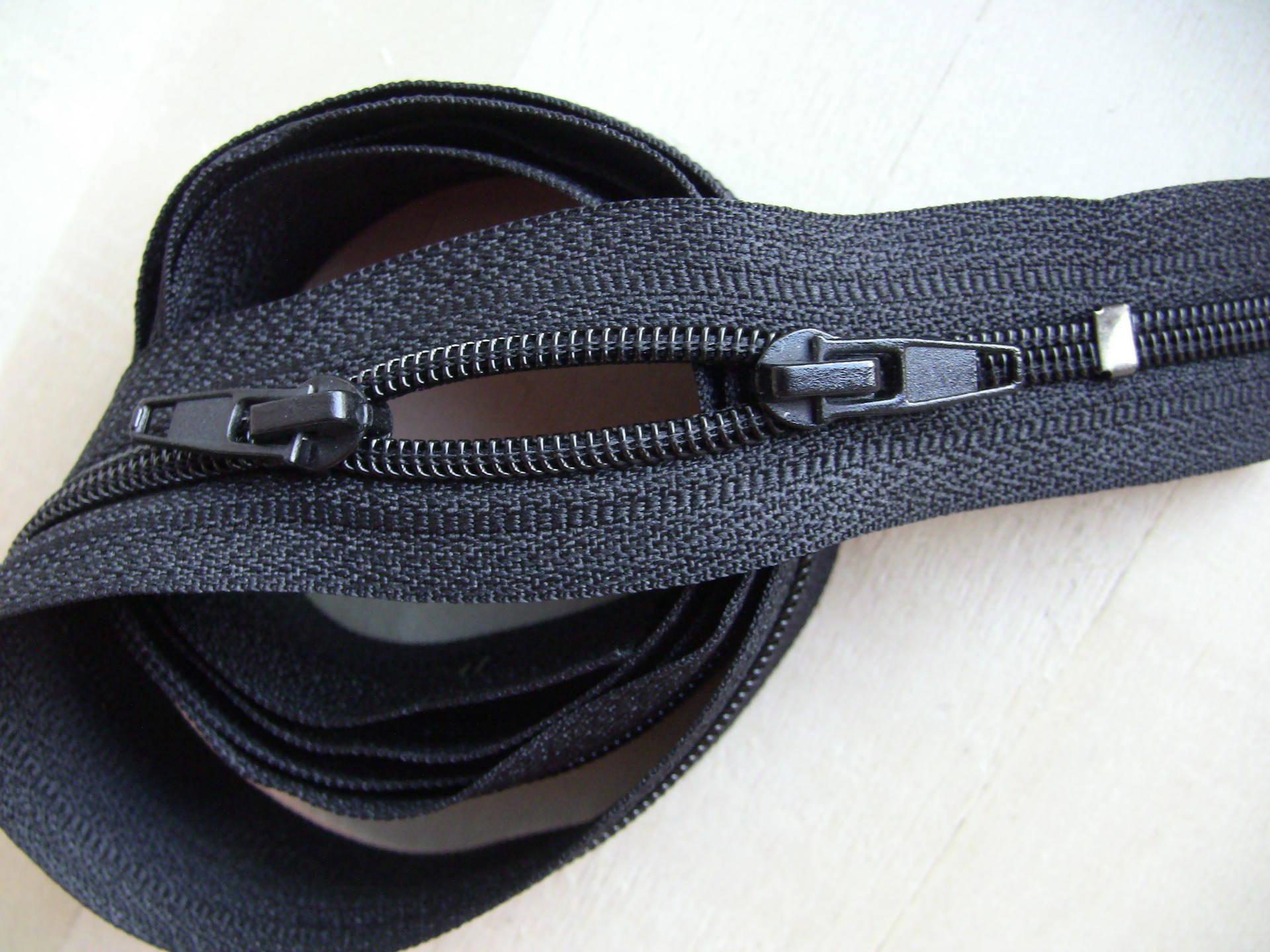N5 2CUR6050 NOIR1M Fermeture eclair a glissiere noir 1 metre à double curseurs pour sac,housse,pochette,vetements