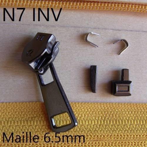N7inv kit fabrication ou reparation fermeture en nylon no7 inverse canon 5pieces curseur fermeture eclair deperlante