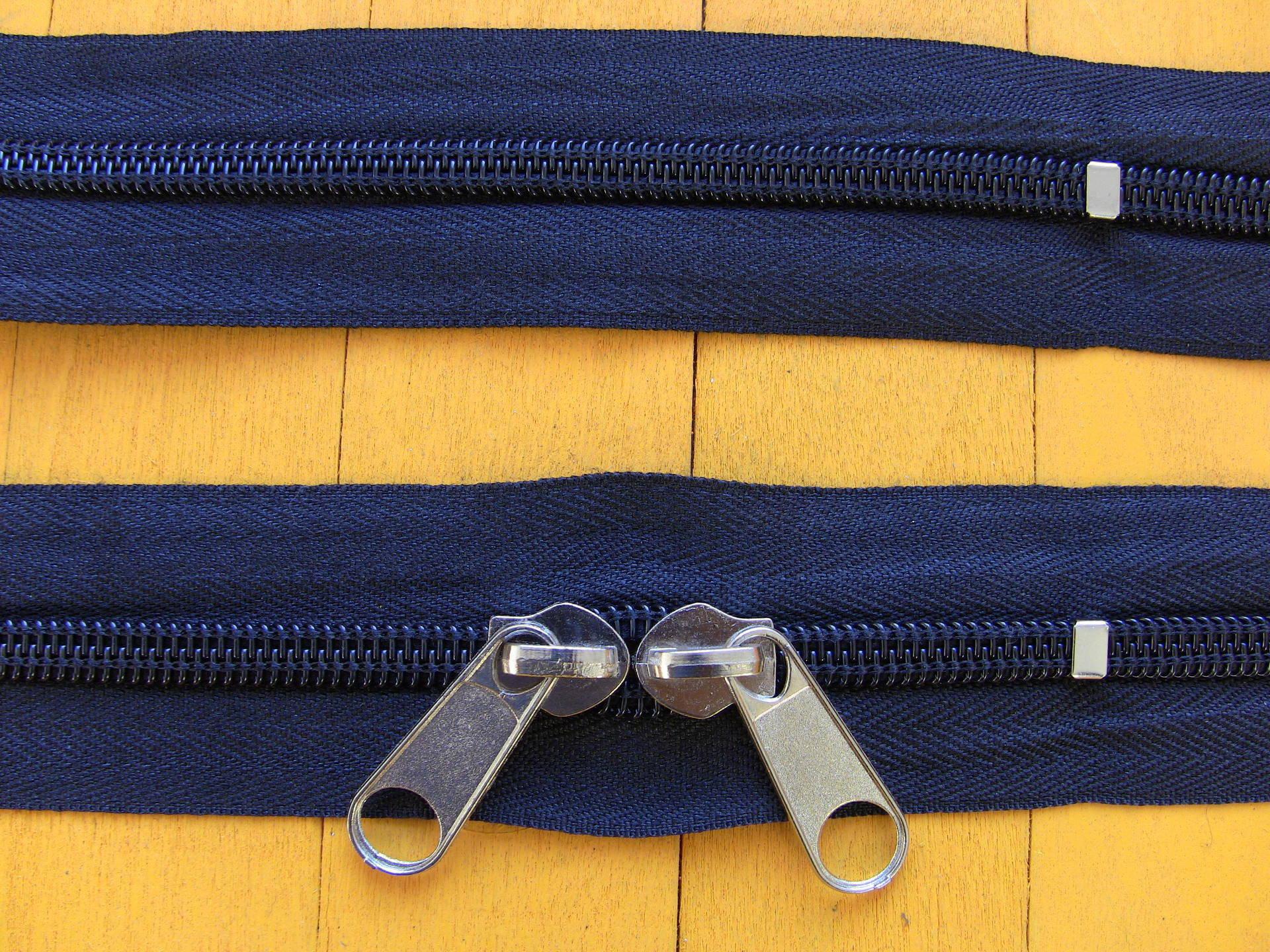 Grande fermeture eclair à glissiere 50 à 95cm No 8 double curseurs grosse maille spirale Noir Ecru Camel Marine Gris Bordeaux Kaki Marron