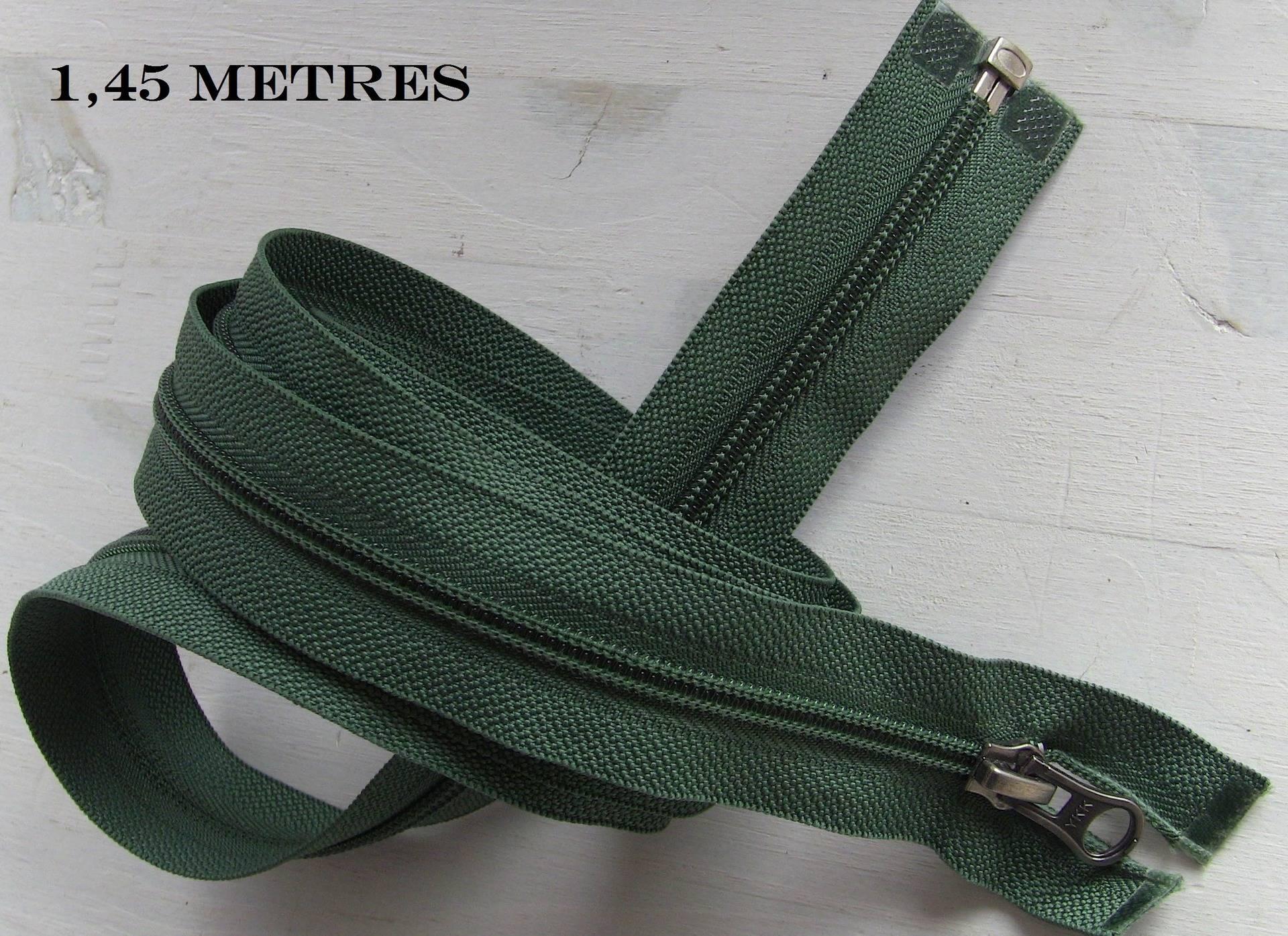 Grande fermeture eclair verte à glissiere nylon spirale , Separable , Longue de 85cm à 135cm ou sur mesure