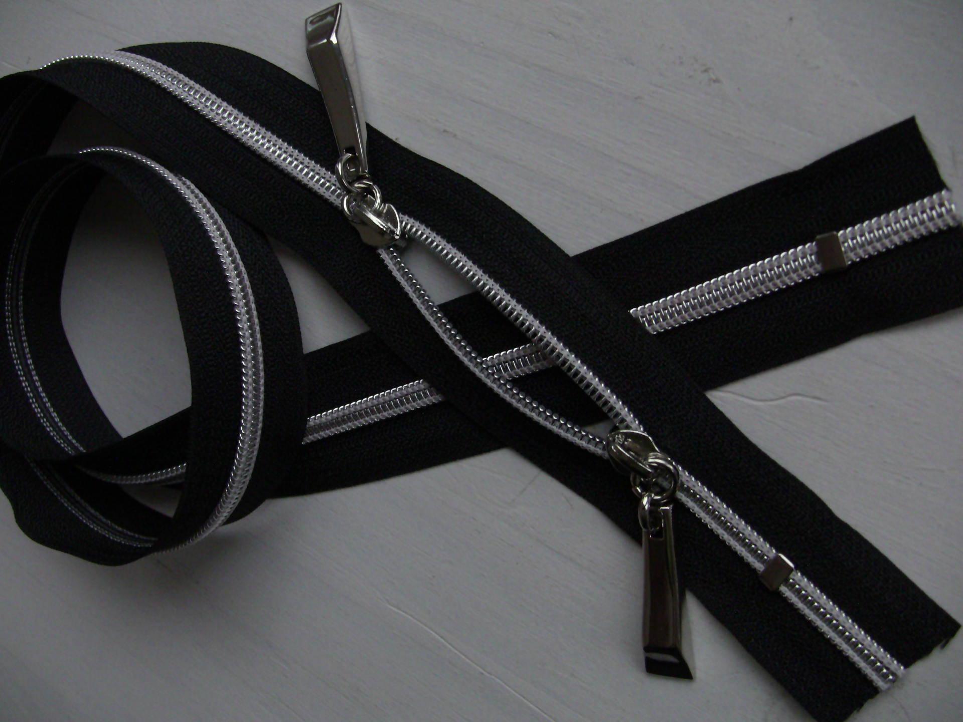 Grande fermeture eclair noir double curseurs massifs argentés longue de 1 metre special sac n6/2cur6006