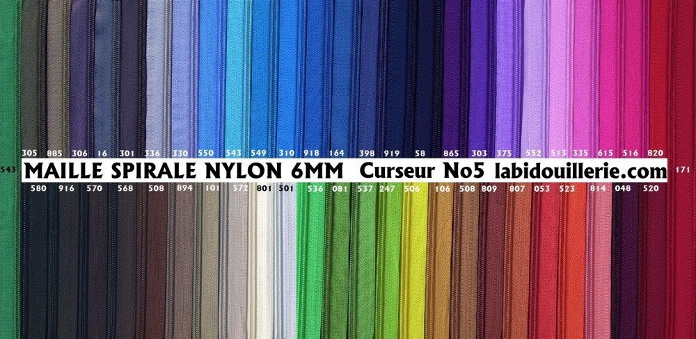 Grande fermeture eclair Marron Noir Glissiere Nylon Double Curseurs Massifs Dorés 50 55 60 65 70 75 80 85 90 95 CM