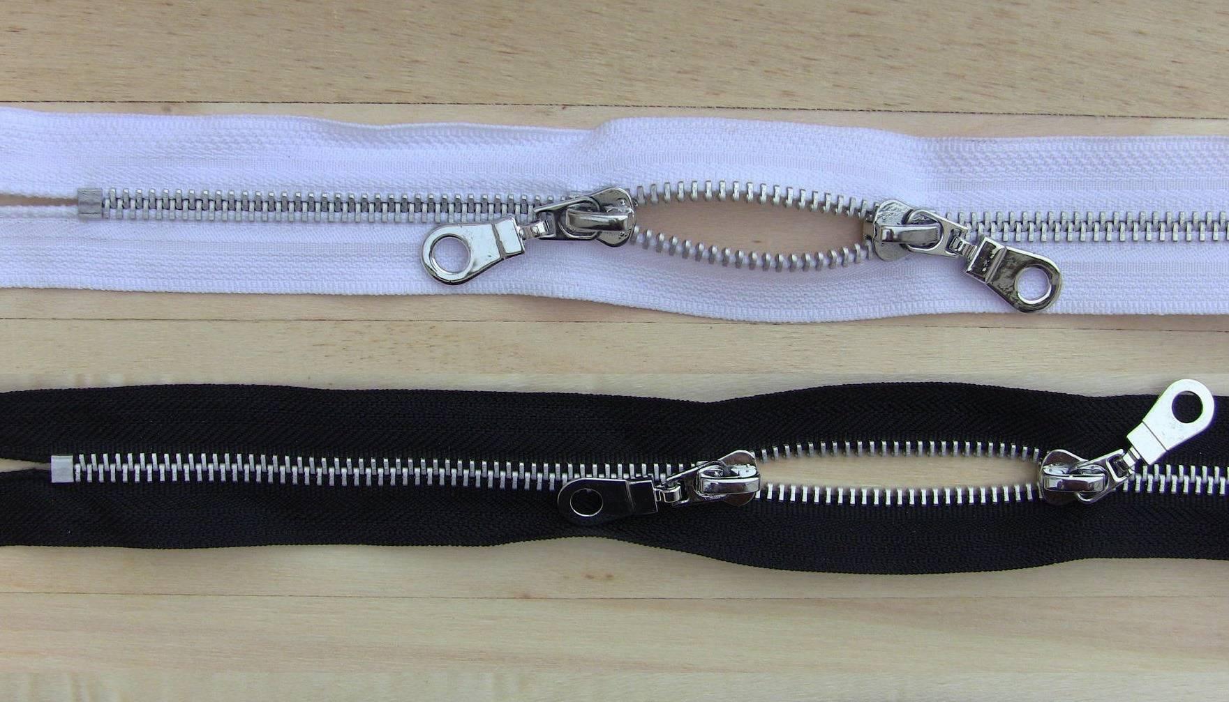 Fermeture à glissiere Special Sac en Metal à double curseur Ruban noir Maille Argentée 5.6mm