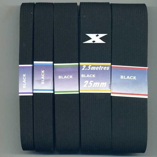 2.5 metres de ruban elastique noir 25mm elastique 25 mm noir