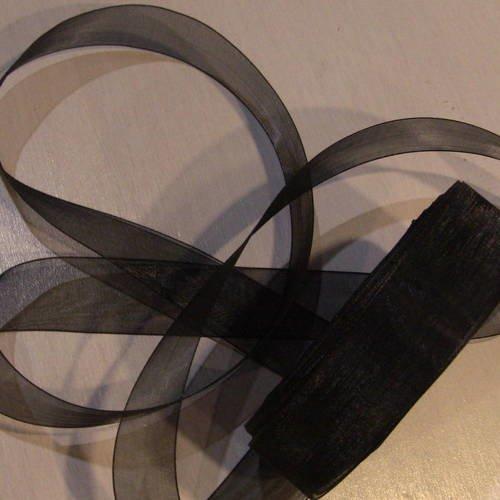 10 metres de ruban d'organza 25mm  noir