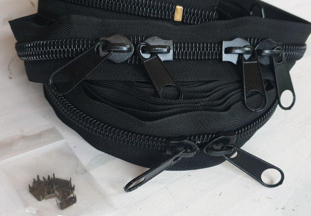 Kit Fermeture Noire au Metre Numero 10 à  X 5 metres + 10 Curseurs montés + 10 arrets