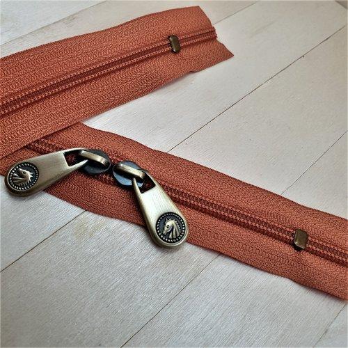 Fermeture eclair orange 807 special sac à double curseurs massifs tete de cheval vieux laiton