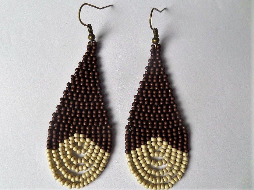 boucles d'oreilles goutte style africain,bohème en perles