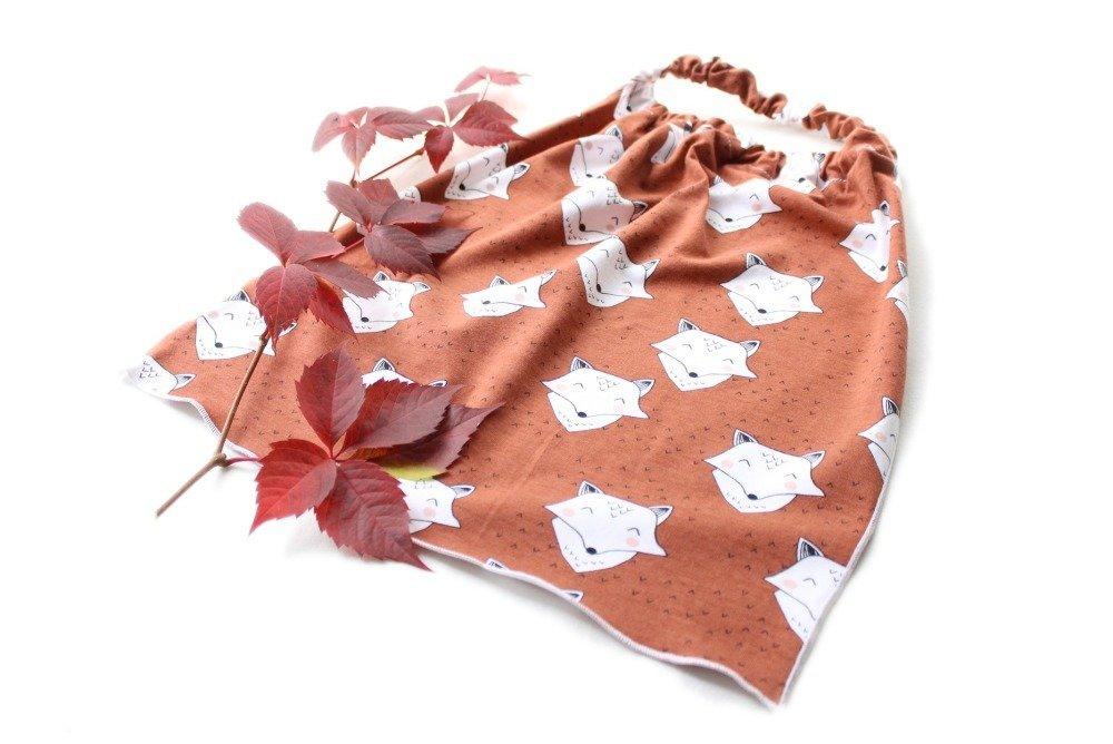 Serviette de maternelle élastique · Jersey épais 100% coton bio GOTS · Renard malin couleur rouille