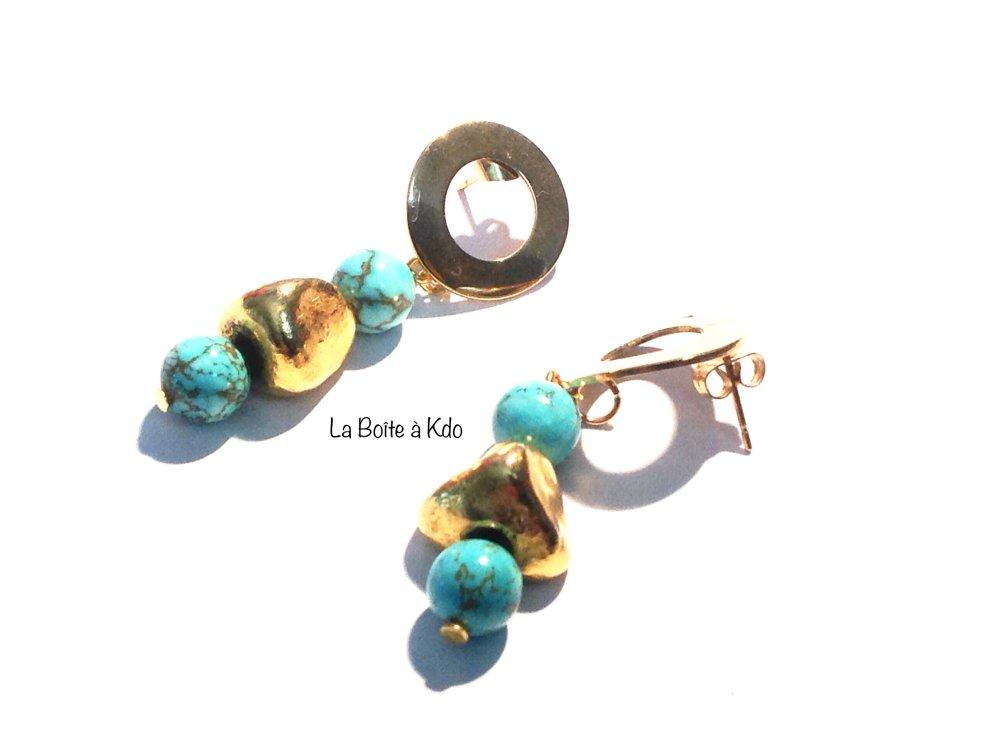 Boucles d'oreilles Or et Turquoise