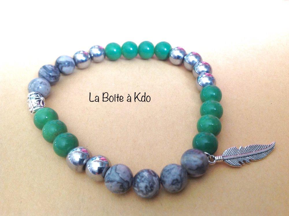 Bracelet Homme - Jaspe verte - Pierres de gemmes