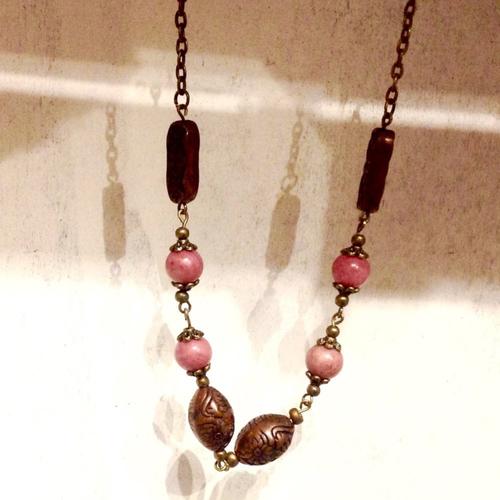 Collier  - rhodochrosite - gemstone