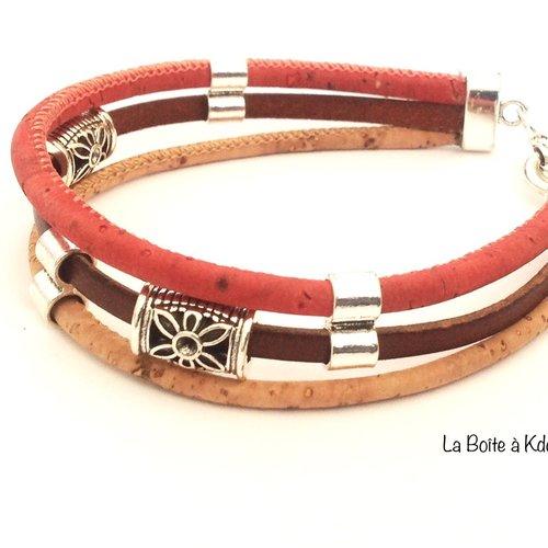 Bracelet homme cuir et liège