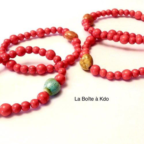 Bracelet femme - perles céramiques