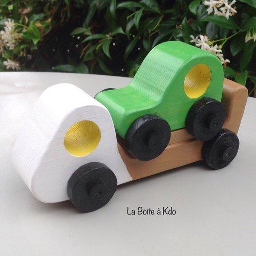 Jouet en bois - camion remorqueur - création artisanale