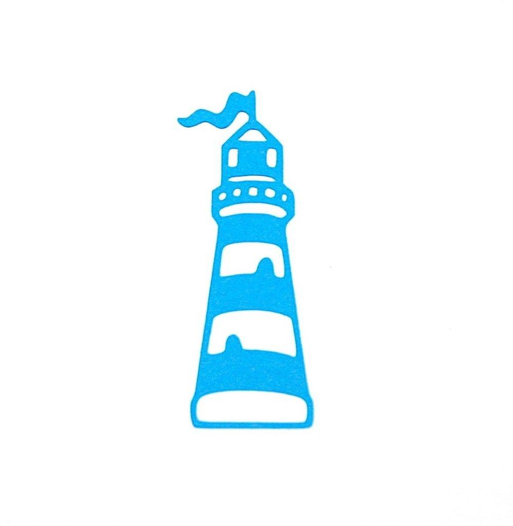 Découpe papier / embellissement scrapbooking - Phare - bleu - mer, marin, vacances...