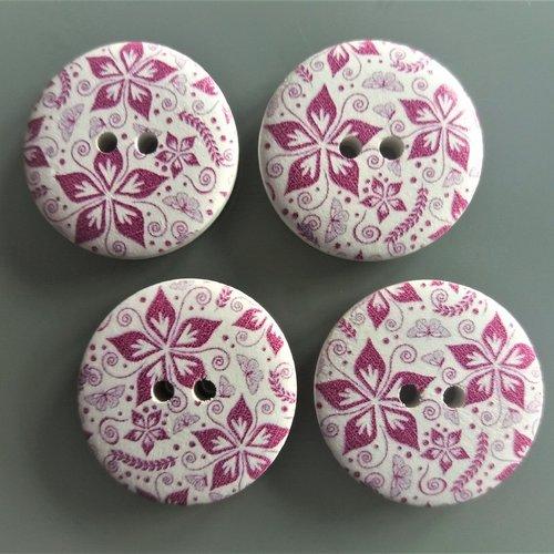 Les perles et bouton box-en bois jolie fleur bleu design boutons 30mm