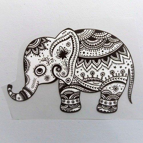 Transfert éléphant 20 cm blanc cassé et marron