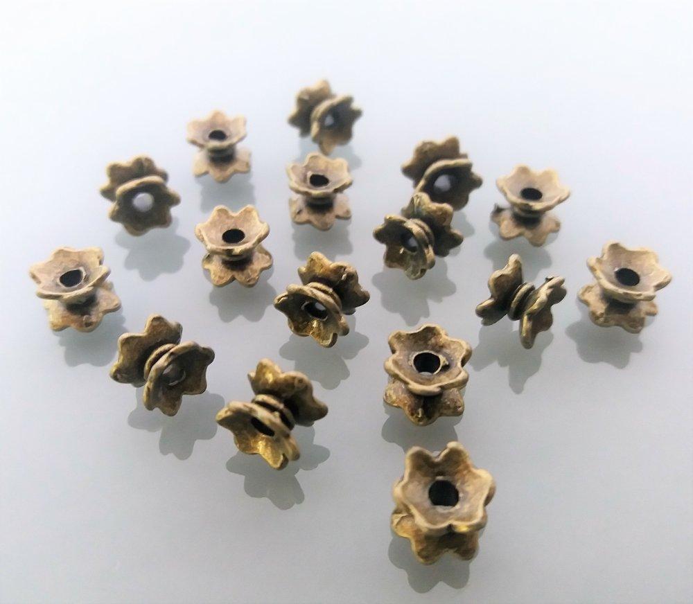 16 intercalaires coniques 5 mm métal coloris bronze