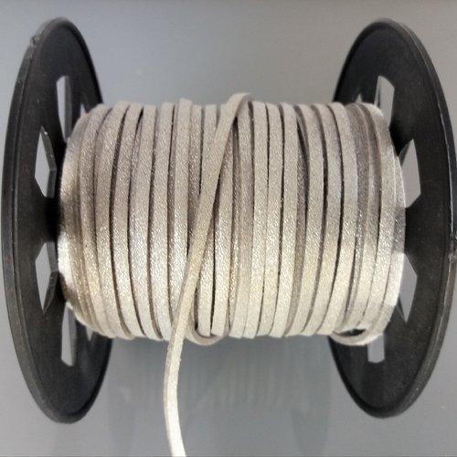 3 mètres de cordon plat 2,5 mm imitation cuir coloris gris argenté