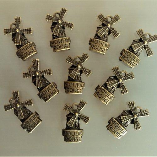 10 pendentifs moulin 21 mm métal coloris bronze