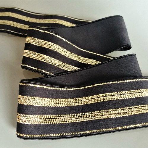 Ruban élastique 30 mm noir avec rayures lurex dorées