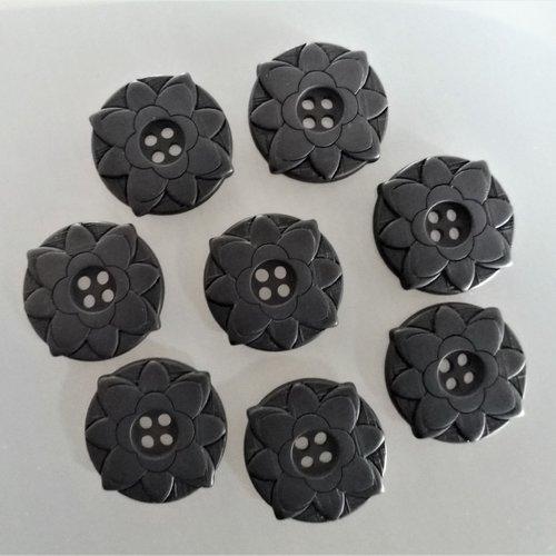 8 boutons fleurs 25 mm plastique noir mat