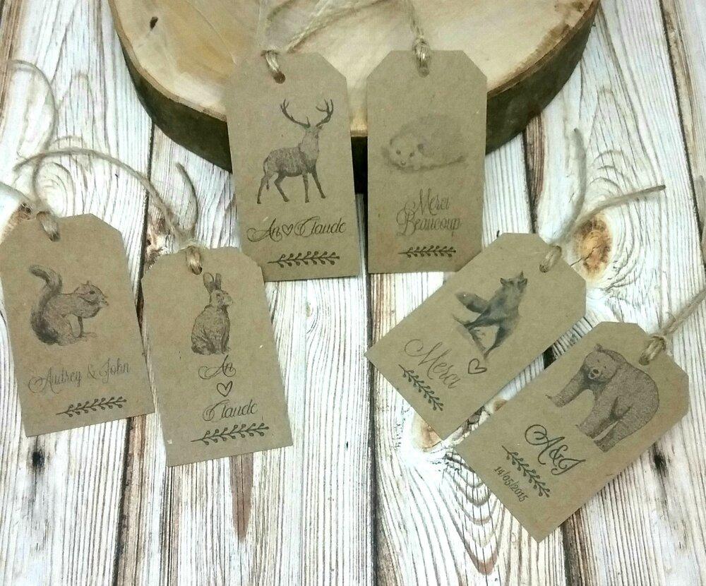 Lot de 6 étiquettes kraft style vintage thème animaux de la forêt  personnalisées (renard, ours, hérisson, lapin, écureuil, etc)