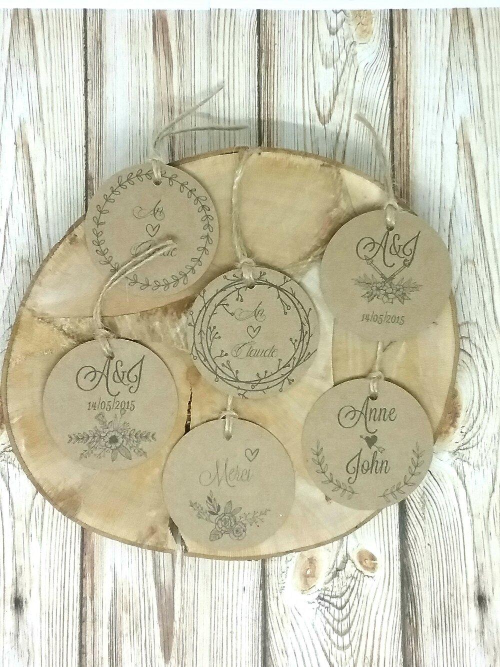 Lot de 10 étiquettes tags kraft rondes vintage personnalisé - idéal pour mariage champêtre rustique ou bucolique