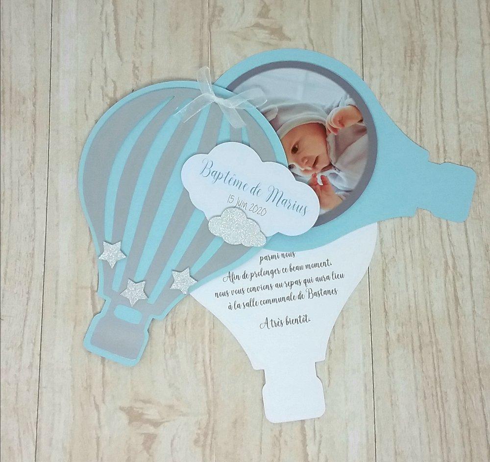 Faire-part montgolfière 3 volets couleurs et texte personnalisé + photo de votre enfant