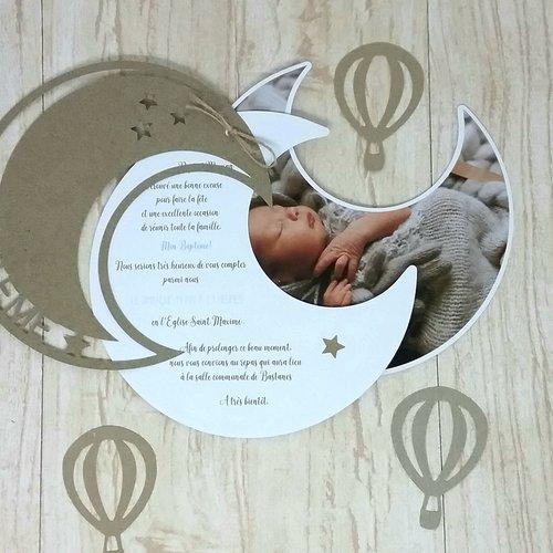 Faire-part couleurs et votre texte personnalisés sur le thème de la lune et photo de votre enfant