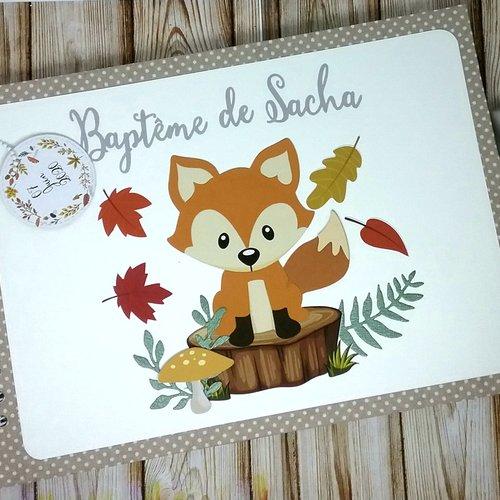 Livre d'or thème renard, animaux de la forêt, automne. idéal pour baptême, anniversaire, baby shower