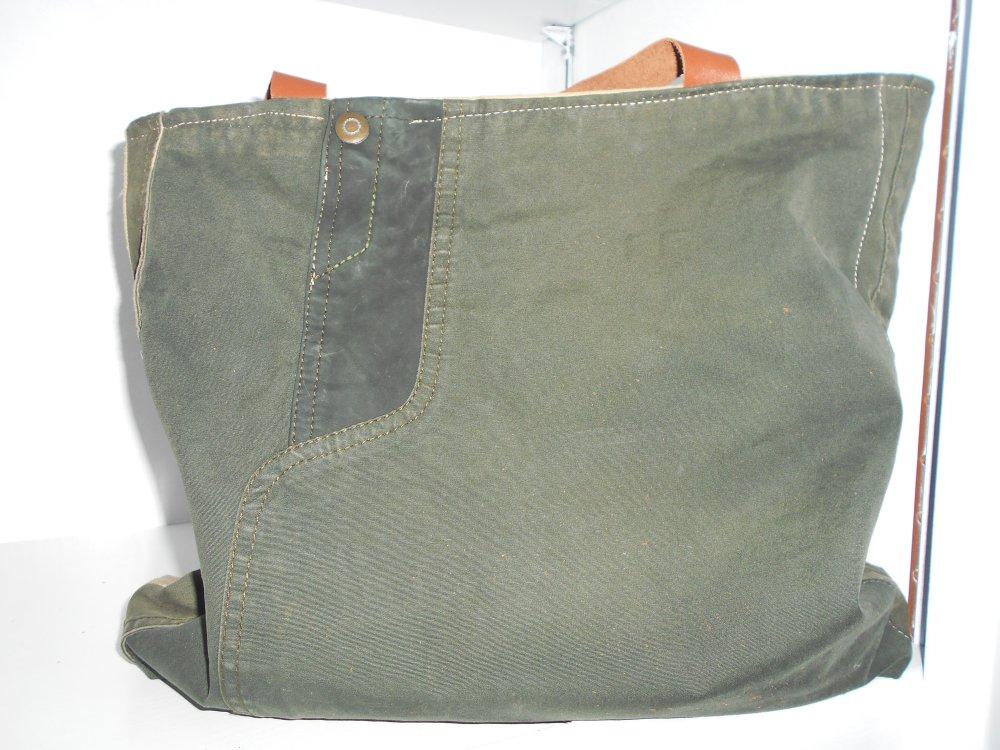 sac a main recupération veste // sac tissu et cuir // cabas kaki ,beige et camel