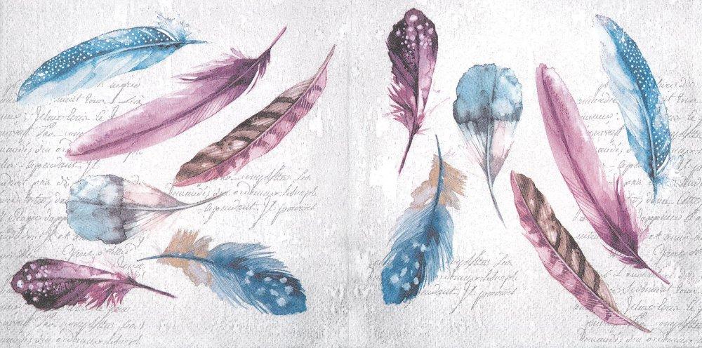 Serviette Papier Tableau de Plumes Bleue Rouge Bordeau
