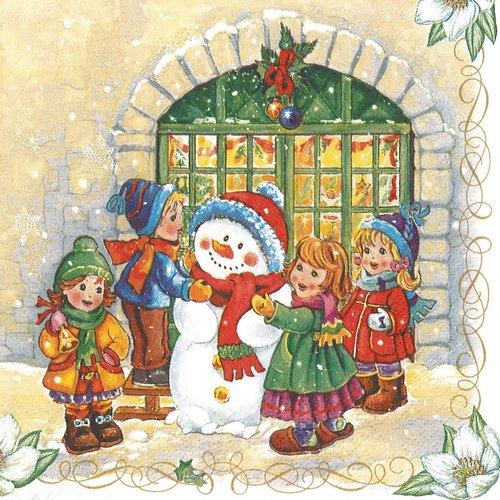 Serviette papier les enfants et le bonhomme de neige