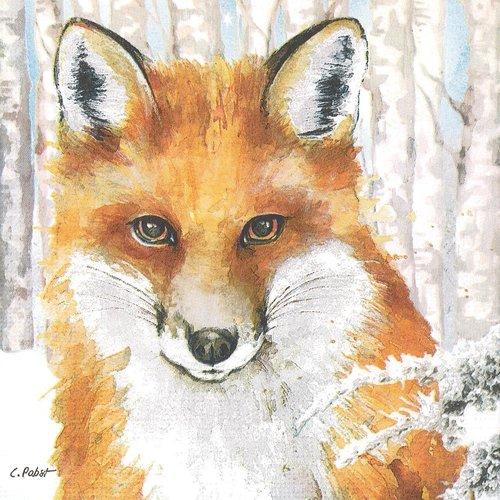 Serviette papier le renard dans la foret de bouleau couverte de neige