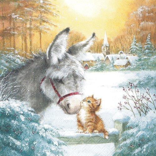 Serviette papier le petit chat et l'ane sous la neige