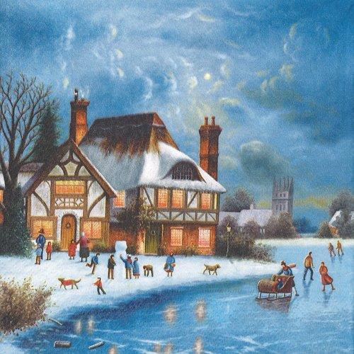 Serviette papier village sous la neige patinoire enfant