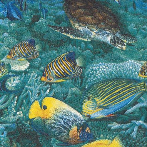 Serviette papier balai de poissons exotiques et tortue de mer