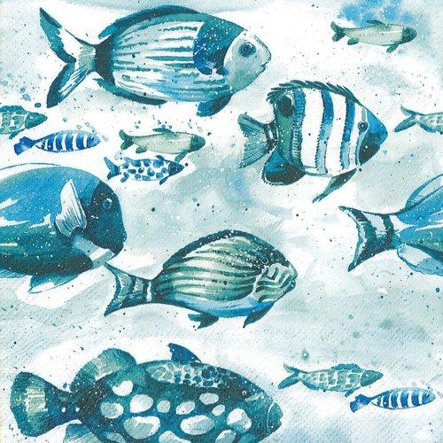 Serviette papier banc de poissons bleus
