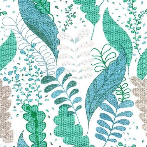Serviette papier tableau fleur arabesque turquoise