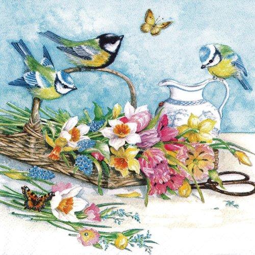 Serviette papier mésange bleue fleur et printemps